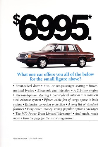 1988 Plymouth Reliant American brochure page, as sourced from the internet.