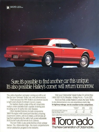 1991 Oldsmobile Toronado print ad, as sourced from the internet.