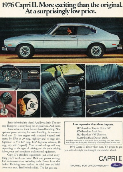 1976 (Ford) Capri II print ad, as sourced from the internet.