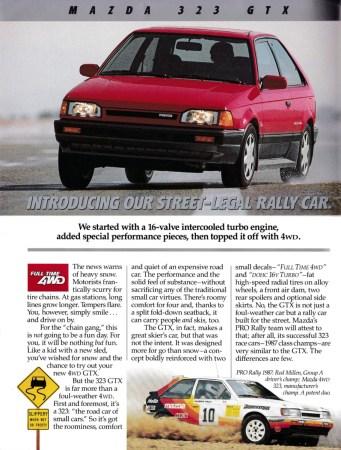 1988 Mazda 323 GTX ad