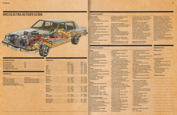 1982 Buick Electra brochure page, as sourced from www.oldcarbrochures.com.