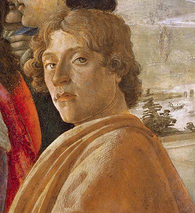 Autoportrait de Botticelli, publié vers 1475. Détail issu de L'Adoration des mages.
