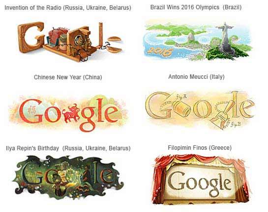 Datas comemorativas do Google