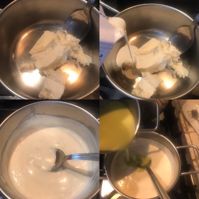 Preparazione crema al gorgonzola