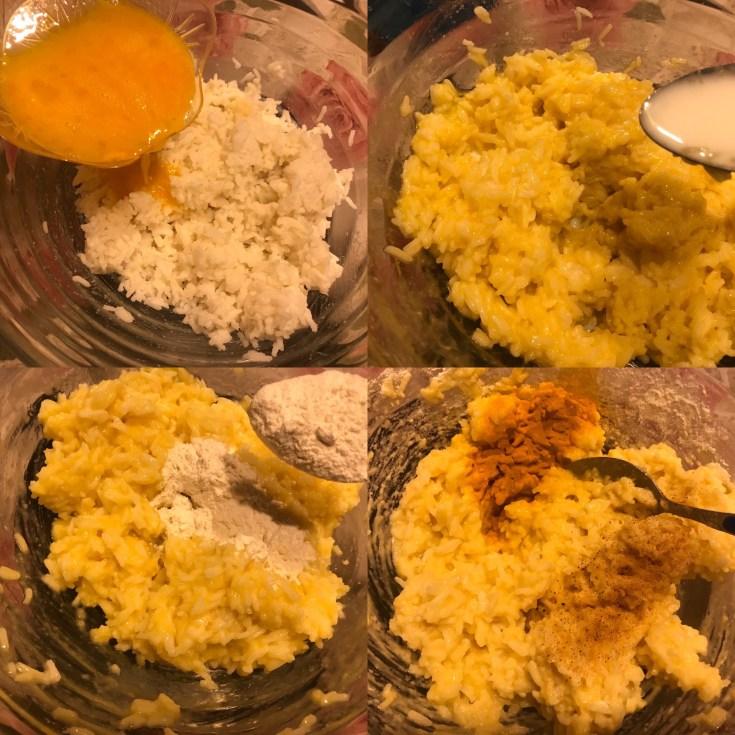 Tortino di riso farcito con prosciutto e formaggio