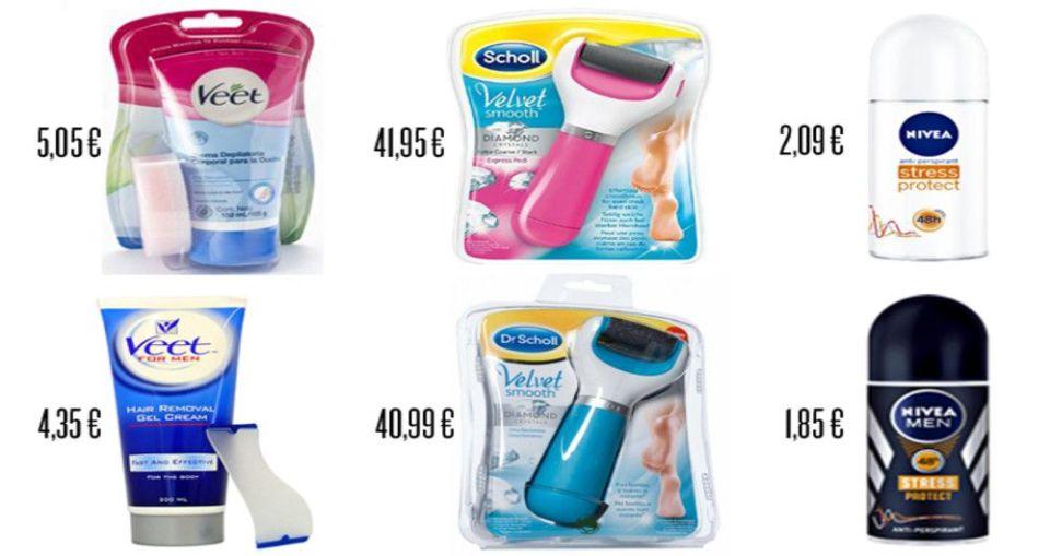 tasa rosa en productos de higiene