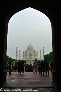 Première vue du Taj Mahal