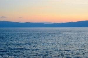Coucher de soleil sur le lac Ohrid en Macédoine