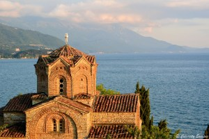 Coucher de soleil sur Sv Jovan Kaneo à Ohrid