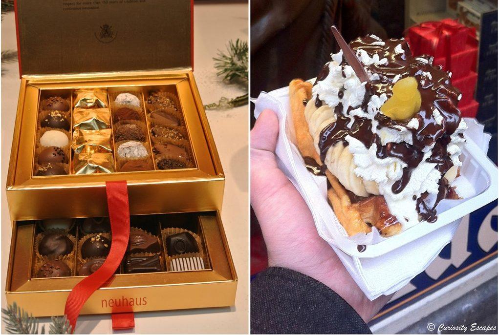 Chocolats belges et gaufre liégeoise