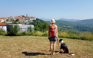 Panorama sur le village de Labin en Croatie