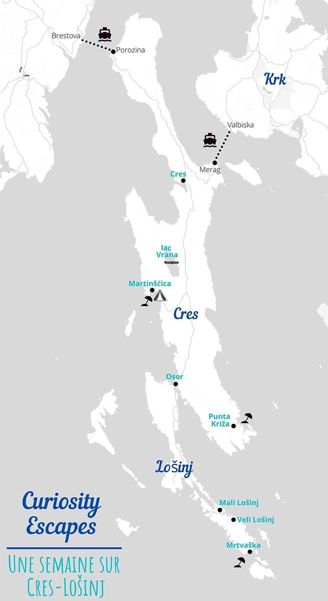 Carte des points touristiques des îles de Cres et Losinj en Croatie