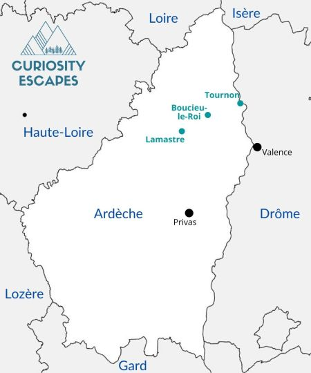 Carte du nord de l'Ardèche par Curiosity Escapes