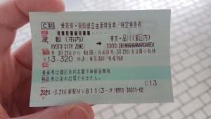 Billet de shinkansen de Kyoto à Tokyo