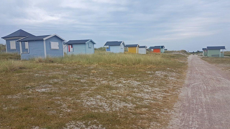 Cabines colorées en bord de mer en Suède