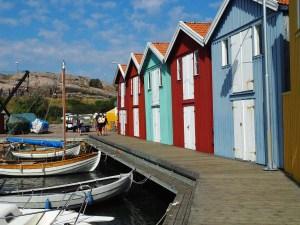 Cabanes colorées du port de Smögen, Bohuslän, Suède