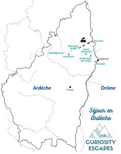 Carte des sites d'intérêt au nord de l'Ardèche