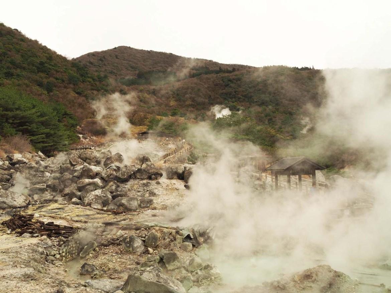 Les enfers d'Unzen, site géothermique au Japon