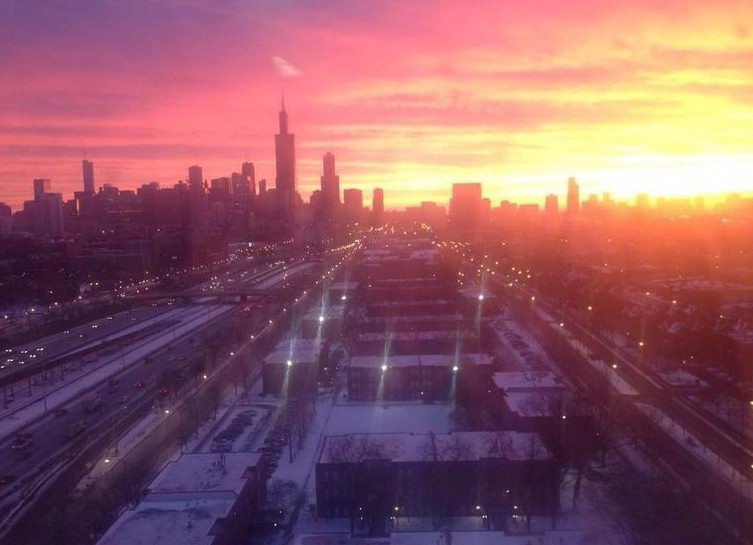 chicago sunrise skyline