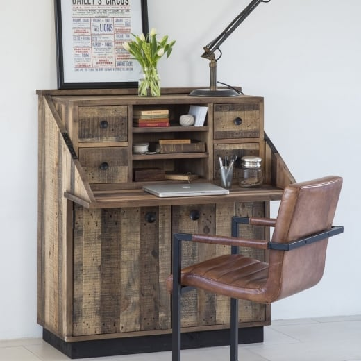 Buy Recycled Wood Plank Bureau   Reclaimed Desks   Living Furniture Benson Writing Bureau