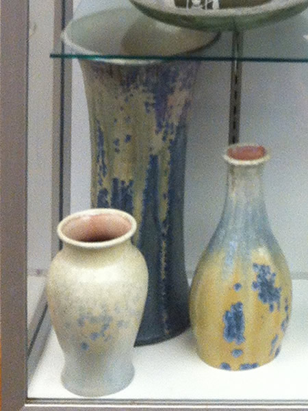 Vases with crystalline glazes from Pisgah Forest Pottery