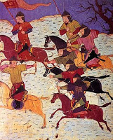 Arqueros mongoles a caballo