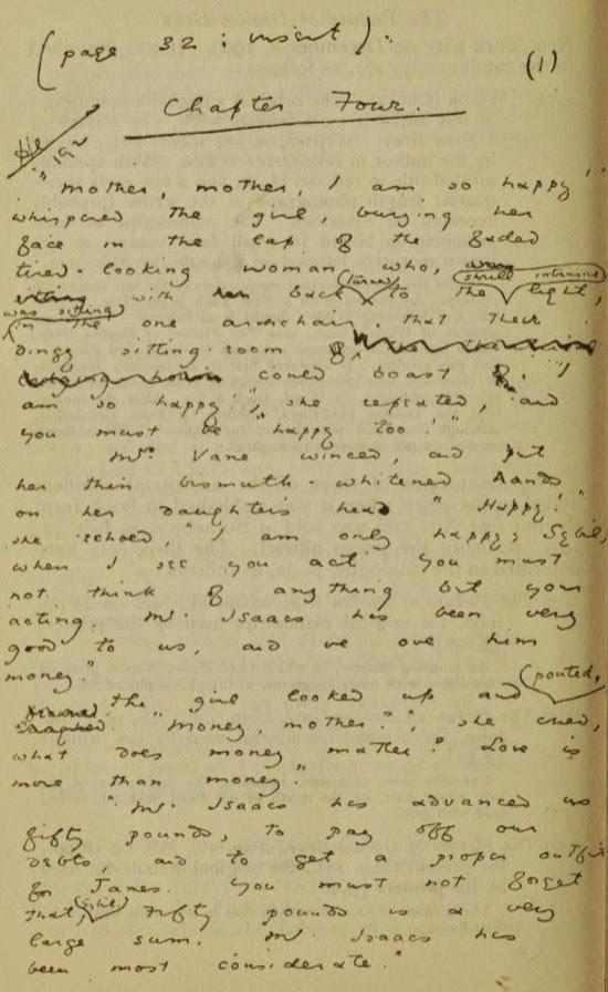 Página del manuscrito de El retrato de Dorian Gray