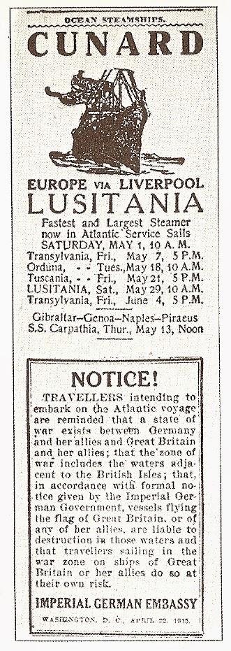 El aviso de Alemania y el peligro de viajar en el Lusitania