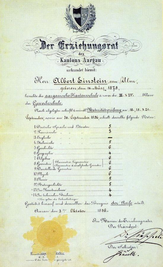 Albert Einstein era un buen estudiante, en base a sus notas