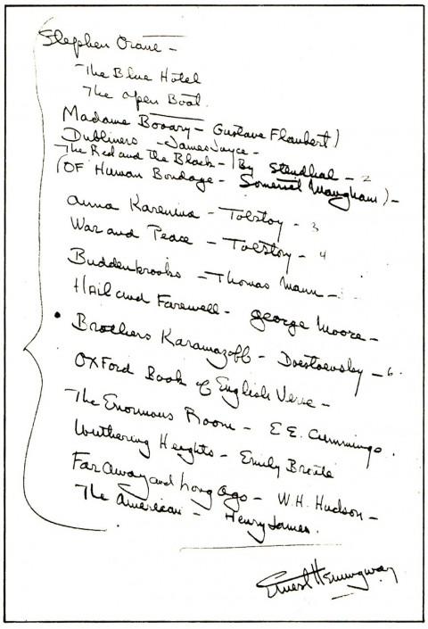 Recomendaciones de Hemingway para jóvenes escritores