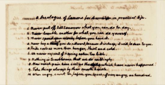 El Decálogo de reglas a cumplir en la vida cotidiana de Thomas Jefferson