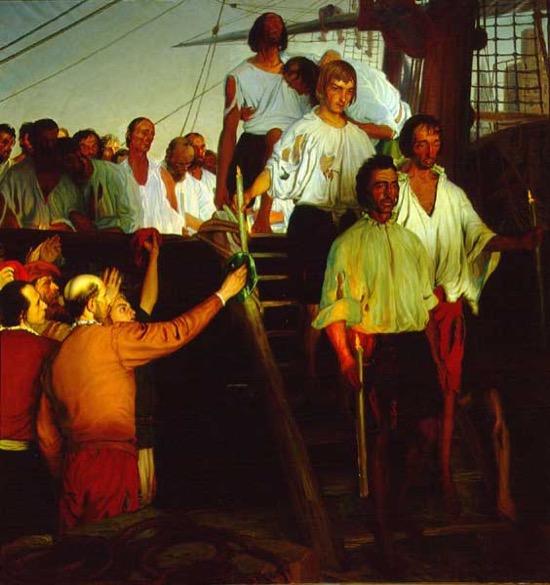 El regreso de Juan Sebastián de Elcano a Sevilla, obra de Elías Salaverría Inchaurrandieta