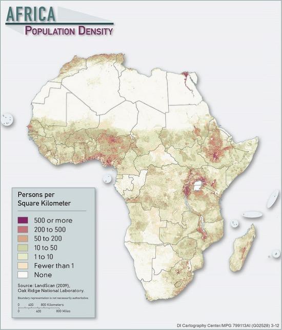 Densidad de población en África en 2012