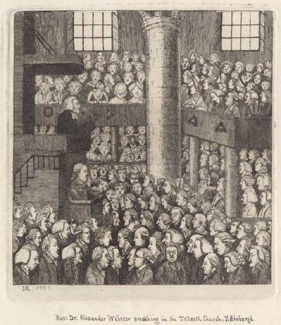 Caricatura de A. Webster (en el centro hacia la izquierda) predicando.