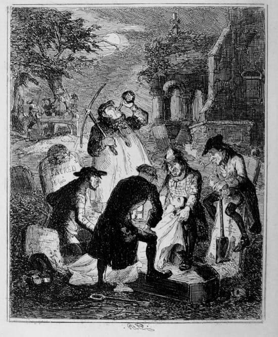 Resurreccionistas, obra de Hablot Knight Browne, en 1847