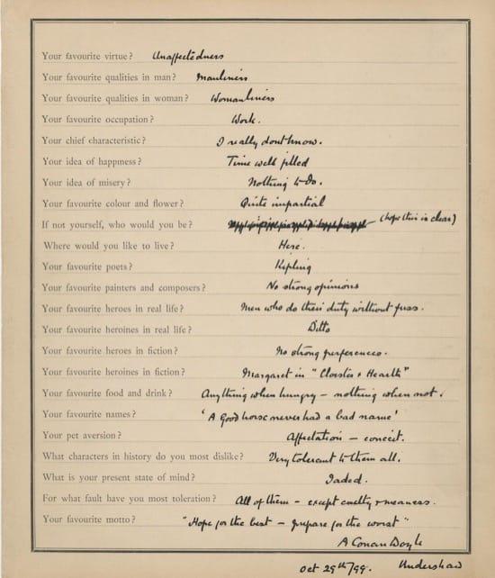 Las respuestas de Conan Doyle y Proust al cuestionario de Proust