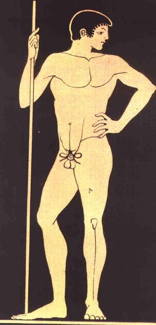 La cinodesma o kynodesme, el hilo con el que los atletas se ataba el pene