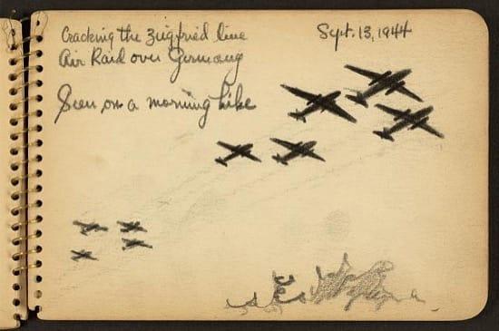 Rompiendo la Línea Sigfrido, ataque aéreo sobre Alemania visto durante una caminata matutina