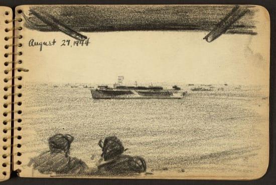 Soldados observando un barco en la distancia