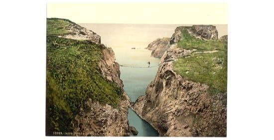 Puente de cuerda, en Irlanda en torno a 1900