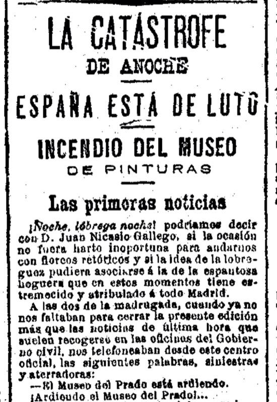 El falso incendio del Museo del Prado en 1891