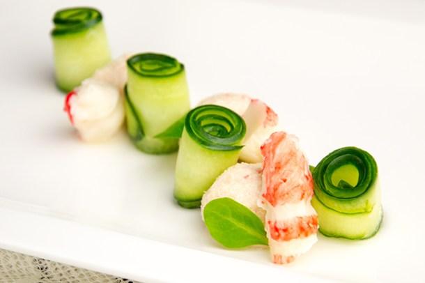Krabmousse met komkommer en Ricard
