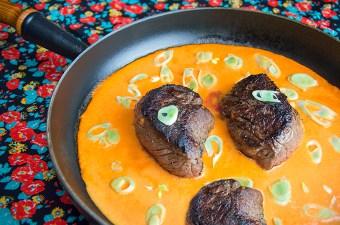 Paprikasaus met biefstuk