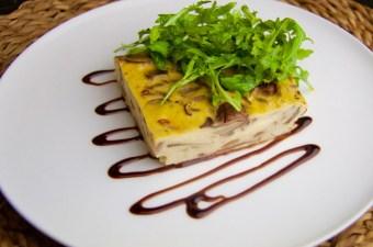 Recept Koolhydraatarme taart met champignons en rookkaas