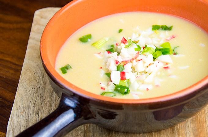 Recept Maissoep met krab en bosui