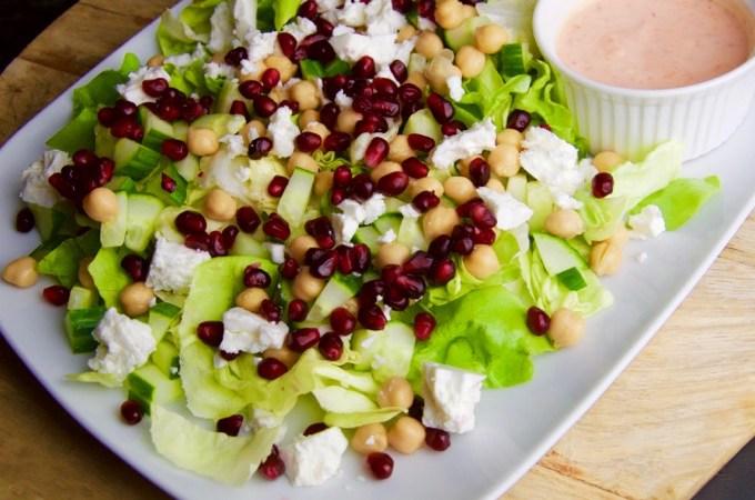 Recept Salade met feta en kikkererwten