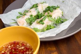 Vietnamese rijstrollen met garnaal