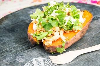 Zoete aardappel met kip en feta