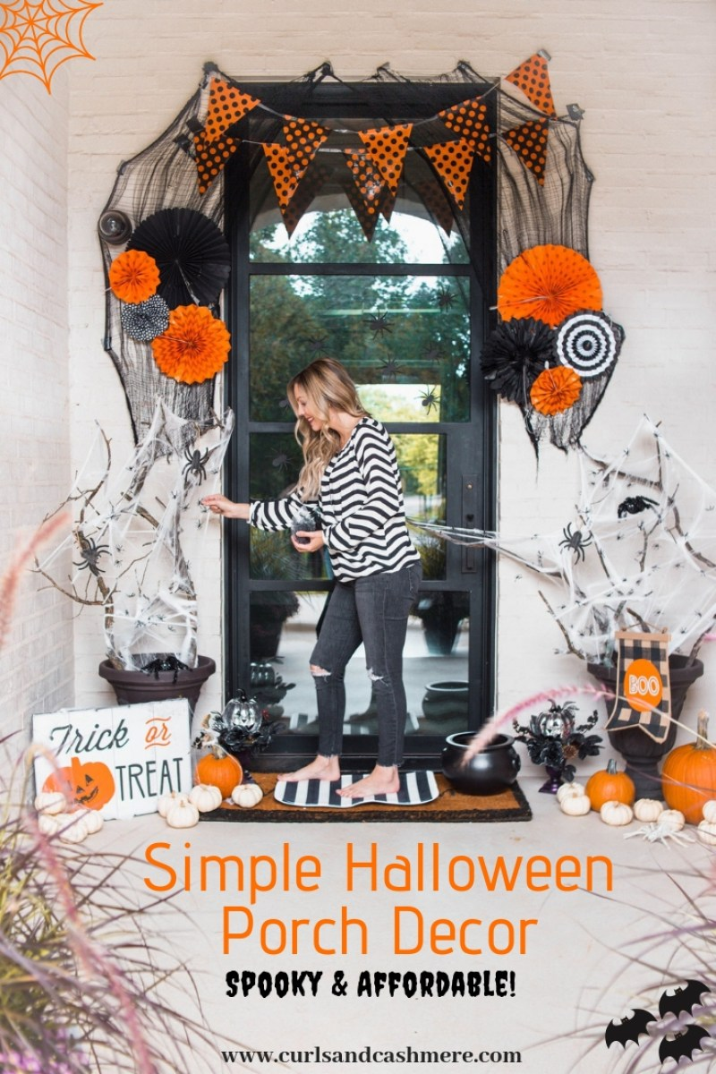 simple halloween porch decor | curls and cashmere