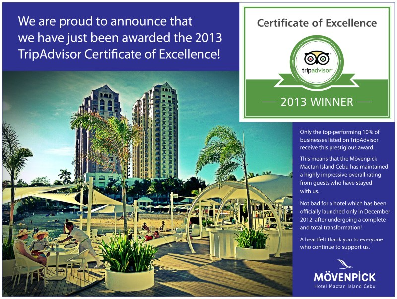 Trip Advisor 2013 of The Moevenpick Hotel Mactan Cebu